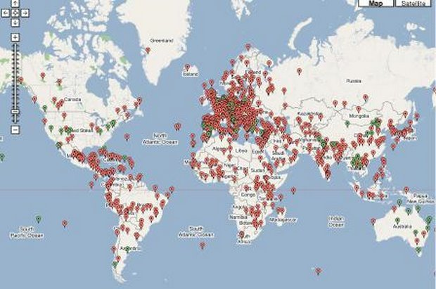 Figure 4. Map of UNESCO's World Heritage Sites http://thesalmons.org./lynn/world.heritage.html
