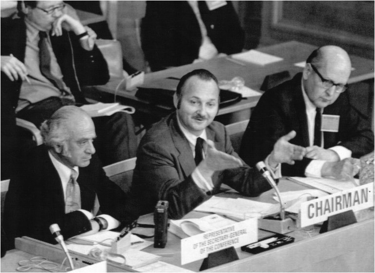 Maurice Strong at Stockholm U.N. Conference, 1972
